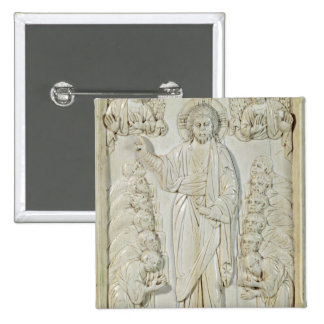 Plaque depicting Christ blessing the Apostles 2 Inch Square Button