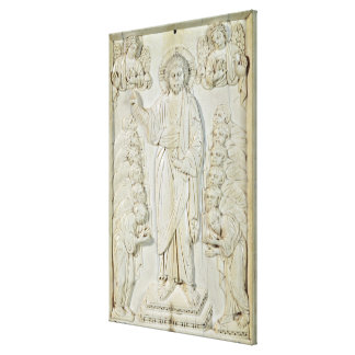 Plaque depicting Christ blessing the Apostles Canvas Print