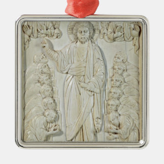 Plaque depicting Christ blessing the Apostles Silver-Colored Square Ornament
