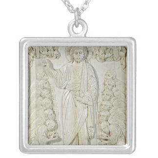 Plaque depicting Christ blessing the Apostles Silver Plated Necklace