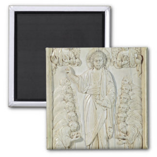 Plaque depicting Christ blessing the Apostles Square Magnet