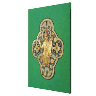 Plaque depicting God blessing Canvas Print