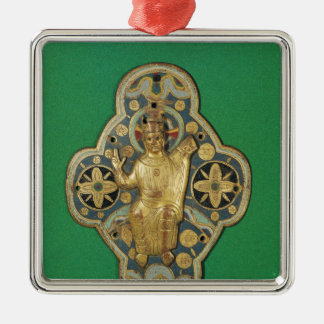 Plaque depicting God blessing Silver-Colored Square Ornament