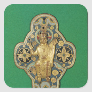 Plaque depicting God blessing Square Sticker