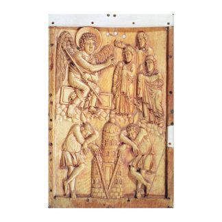 Plaque depicting the Holy Women at the Tomb Canvas Print
