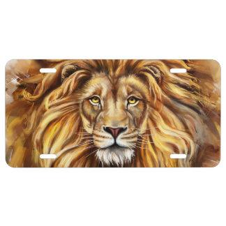 Plaque minéralogique artistique de visage de lion plaque d'immatriculation