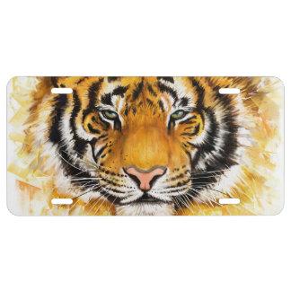 Plaque minéralogique artistique de visage de tigre plaque d'immatriculation