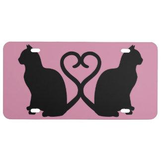 Plaque minéralogique de coeur de deux chats plaque d'immatriculation