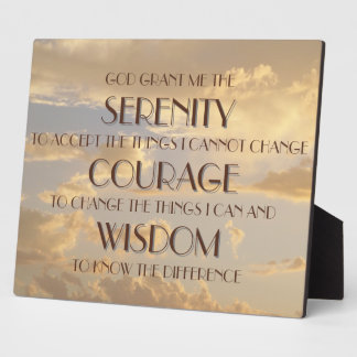 Plaque - Serenity Prayer Glowing Sky