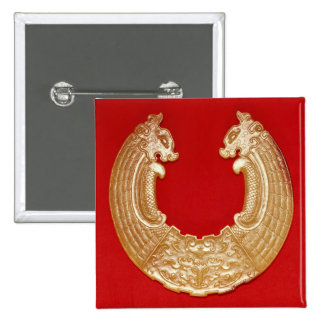 Plaque with two dragons and a Tao-tie mask 2 Inch Square Button