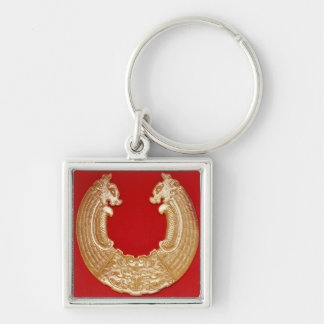 Plaque with two dragons and a Tao-tie mask Silver-Colored Square Keychain