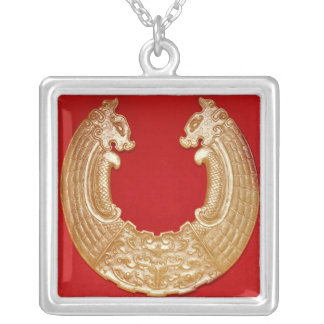 Plaque with two dragons and a Tao-tie mask Silver Plated Necklace