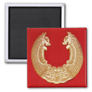 Plaque with two dragons and a Tao-tie mask Square Magnet