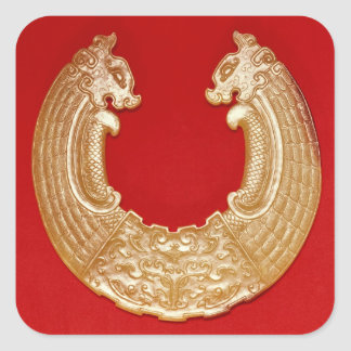 Plaque with two dragons and a Tao-tie mask Square Sticker