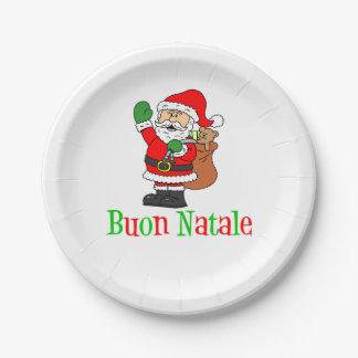 Plaques à papier de Noël italien de Buon Natale Assiettes En Papier