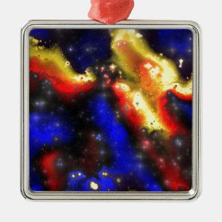 plasma fractal pattern Silver-Colored square ornament