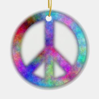 Plasma Peace Sign Round Ceramic Ornament
