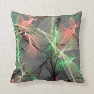 Plasma - peach - emerald- gray- black throw pillow