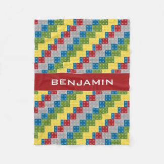 Plastic Blocks Pattern Illustration Custom Name Fleece Blanket
