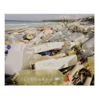 Plastic bottles and ocean dumping on a tropical poster