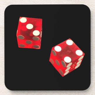 Plastic drink coaster with dice