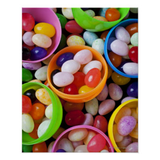 Plastic eggs filled with jelly beans poster