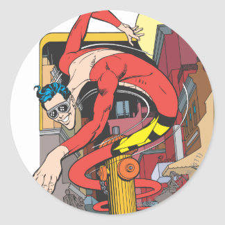 Plastic Man Shape-Shifts in the City Round Sticker
