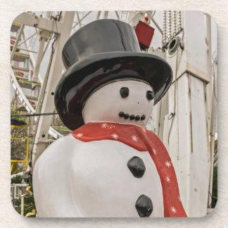 Plastic snowman hard plastic coasters
