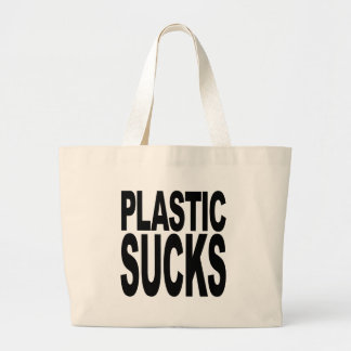 Plastic Sucks Large Tote Bag