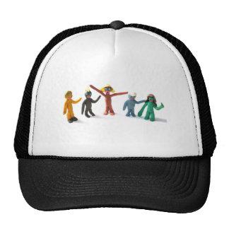 plasticine people figures saying hi trucker hat
