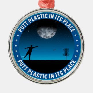 Plastique de putt dans son endroit #8 ornement rond argenté