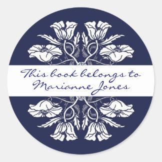 Plat de livre floral de Nouveau d'art vintage Sticker Rond