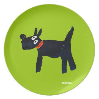 Plat de mélamine : Vert de chien de Scotty de Assiettes Pour Soirée