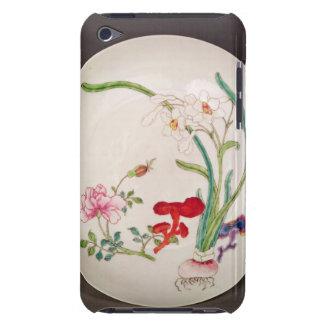 Plat de porcelaine, décoration rose de famille, étuis barely there iPod