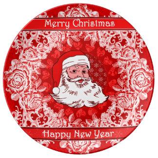 Plat en céramique décoratif de Père Noël de Noël Assiette En Porcelaine