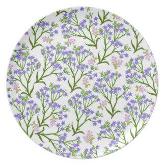 Plat floral bleu de jardin de Deco Assiettes