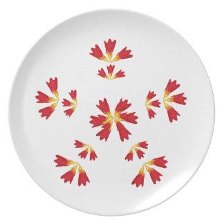 plat jaune rouge de tulipe assiette pour soirée