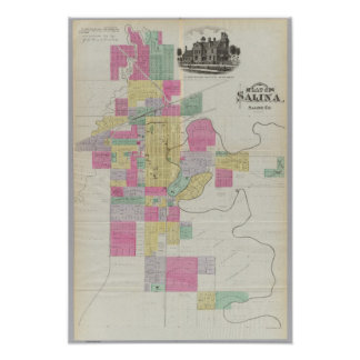 Plat of the City of Salina, Kansas Poster