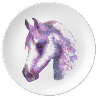 """Plat rose de porcelaine de chevaux de """"Rosie"""" Assiette En Porcelaine"""
