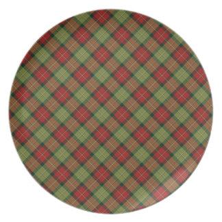 Plat rustique de mélamine de plaid de Noël Assiettes Pour Soirée