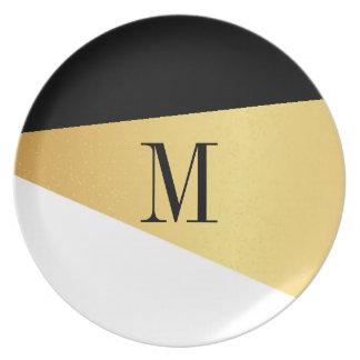 Plate - Asymmetry Gold Black White