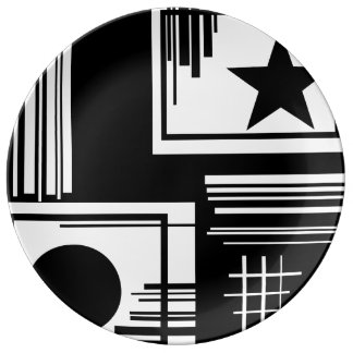 PLATE - BLACK AND WHITE COLLECTION PORCELAIN PLATES