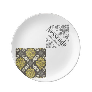 Plate collection Damask lime&gray Punt Porcelain Plates