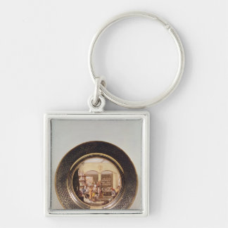 Plate depicting the Sevres workshop Silver-Colored Square Keychain