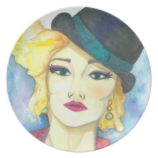 "Plate ""Fedora"" Crystal Cross Watercolors"