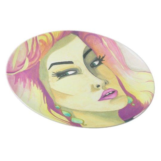 """Plate- """"Fierce"""" Crystal Cross Watercolors Plate"""