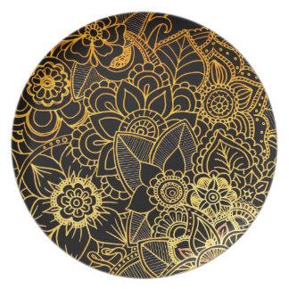 Plate Floral Doodle Gold G523