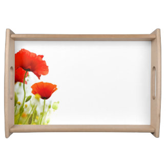 Plate flowers of the fields poppies white zone serving tray