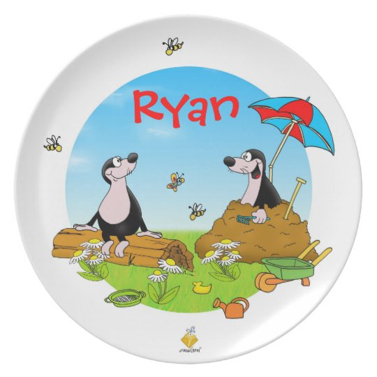 "plate for kids with name ""MOLES """