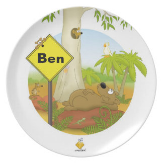 "plate for kids with name ""WOMBAT"""